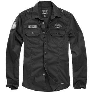 Brandit Luis Vintage Overhemd met Badges - Zwart